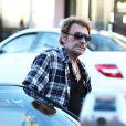 Johnny Hallyday dans les rues de Los Angeles le 13 janvier 2014.