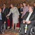 Letizia et Sofia d'Espagne présidaient le 14 janvier 2014 la remise des décorations 2012 dans l'Ordre civil de la solidarité sociale, au palais de la Zarzuela, à Madrid