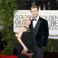 Chris Hemsworth et Elsa Pataky enceinte (et habillée en Paule Ka) lors de la 71e cérémonie des Golden Globe Awards à Beverly Hills le 12 janvier 2014.