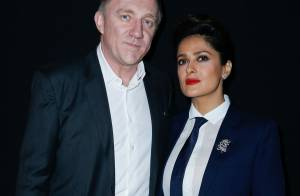 Fashion Week : Salma Hayek, chic en smoking pour le show Saint Laurent
