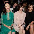 Un joli trio ! Olga Kurylenko, Paz Vega, Clotilde Courau assises au premier rang du Défilé Elie Saab Haute Couture printemps/été 2014 organisé à Paris le 22 janvier 2014