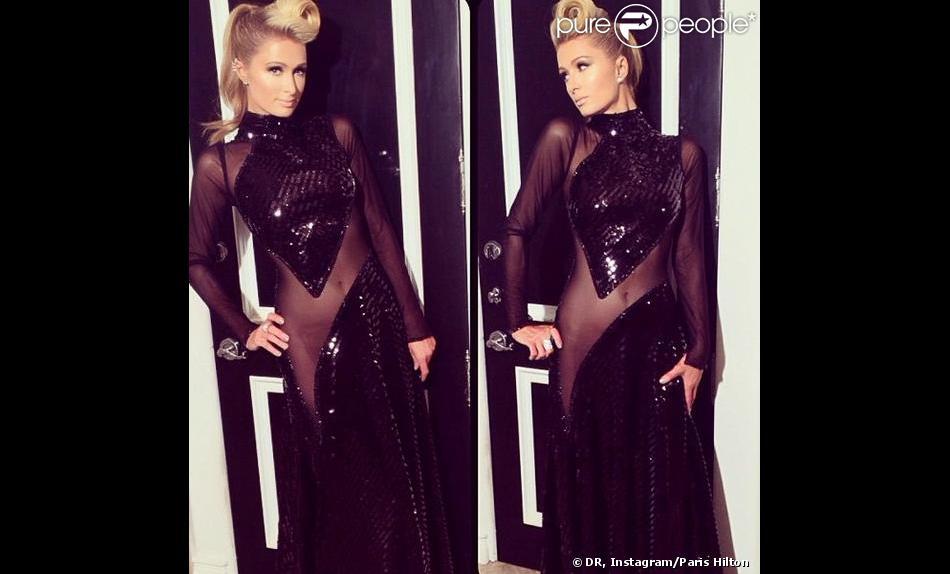 Paris Hilton toute en transparence lors d'une soirée pré-Grammy Awards, organisée le 24 janvier 2014 à Los Angeles.