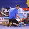 Rafael Nadal avait peine à retenir ses larmes après sa défaite en finale de l'Open d'Australie face à Stanislas Wawrinka (6-3, 6-2, 3-6, 6-3) à Melbourne, le 26 janvier 2014