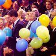 Le roi Willem-Alexander radieux lors de la fête. La princesse Beatrix des Pays-Bas recevait le 1er février 2014 au Ahoy de Rotterdam, en présence de son héritier le roi Willem-Alexander et de la reine Maxima ainsi que de l'ensemble de la famille royale, un vibrant hommage en marque de gratitude pour ses 33 ans de règne, de 1980 à son abdication le 30 avril 2013 au profit de son fils Willem-Alexander.