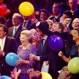 La princesse Beatrix, le premier ministre Mark Rutte, le roi Willem-Alexander, la reine Maxima. La princesse Beatrix des Pays-Bas recevait le 1er février 2014 au Ahoy de Rotterdam, en présence de son héritier le roi Willem-Alexander et de la reine Maxima ainsi que de l'ensemble de la famille royale, un vibrant hommage en marque de gratitude pour ses 33 ans de règne, de 1980 à son abdication le 30 avril 2013 au profit de son fils Willem-Alexander.