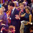 La princesse Beatrix, le premier ministre Mark Rutte, le roi Willem-Alexander, la reine Maxima en pleine fête. La princesse Beatrix des Pays-Bas recevait le 1er février 2014 au Ahoy de Rotterdam, en présence de son héritier le roi Willem-Alexander et de la reine Maxima ainsi que de l'ensemble de la famille royale, un vibrant hommage en marque de gratitude pour ses 33 ans de règne, de 1980 à son abdication le 30 avril 2013 au profit de son fils Willem-Alexander.
