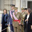 La princesse Letizia, le prince Felipe, la reine Sofia et le roi Juan Carlos Ier d'Espagne lors de la Pâque militaire le 6 janvier 2014 à Madrid