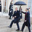 Jean-Marc Ayrault arrive pour le déjeuner à l'occasion de la visite officielle du roi Philippe de Belgique et de la reine Mathilde à François Hollande, le 6 février 2014 à Paris.