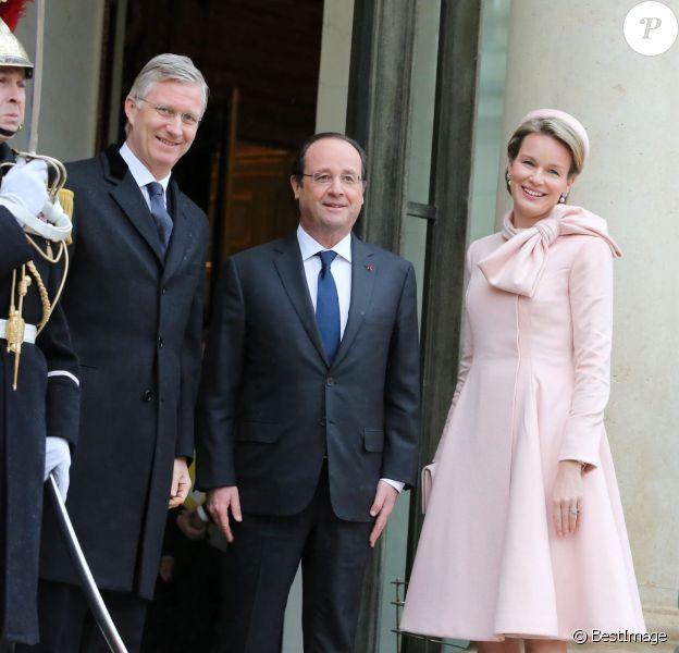 Visite officielle du roi Philippe de Belgique et de la reine Mathilde à François Hollande, le 6 février 2014 à Paris.