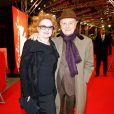 """Pierre Bergé et Ingrid Caven lors de la première du film """"Yves Saint Laurent"""" lors du 64eme Festival International du Film de Berlin, le 7 février 2014."""