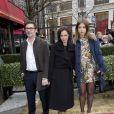 Michel Hazanavicius, sa compagne Bérénice Béjo et Adèle Exarchopoulos arrivent au déjeuner des nommés aux César au Fouquet's à Paris, le 8 février 2014.