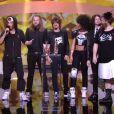 Shaka Ponk remporte le trophée du meilleur DVD live - 29e cérémonie des Victoires de la Musique, au Zénith de Paris, le 14 février 2014.