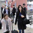 Exclusif - Courteney Cox arrive à Venise avec sa fille Coco Arquette et son petit ami Johnny McDaid, le 15 février 2014.