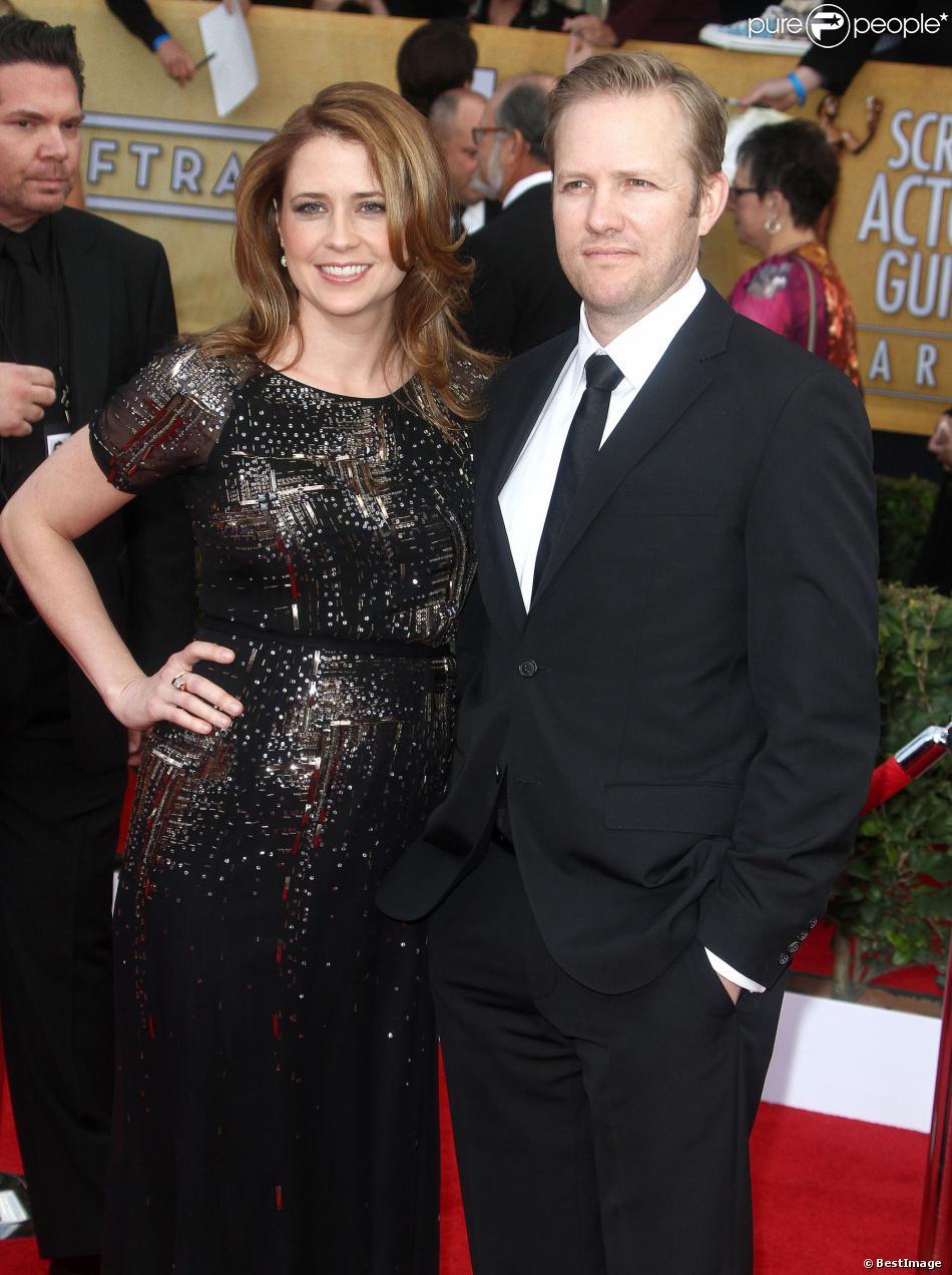 Jenna Fischer et son mari à Los Angeles, le 27 janvier 2013.