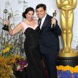 Kristen Anderson et Robert Lopez à la 86e cérémonie des Oscars, à Los Angeles le 2 mars 2014.