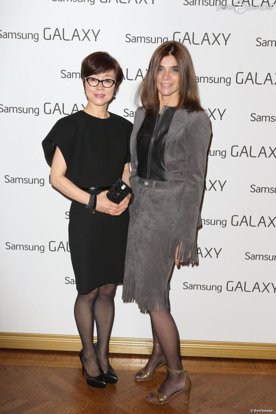 Exclusif - Carine Roitfeld et Lee Young Hee, Vice présidente éxécutive de Samsung, au déjeuner Samsung X Carine Roitfeld, (déjeuner avec comme thème technologie et monde de la mode), à Paris le 1 mars 2014 -