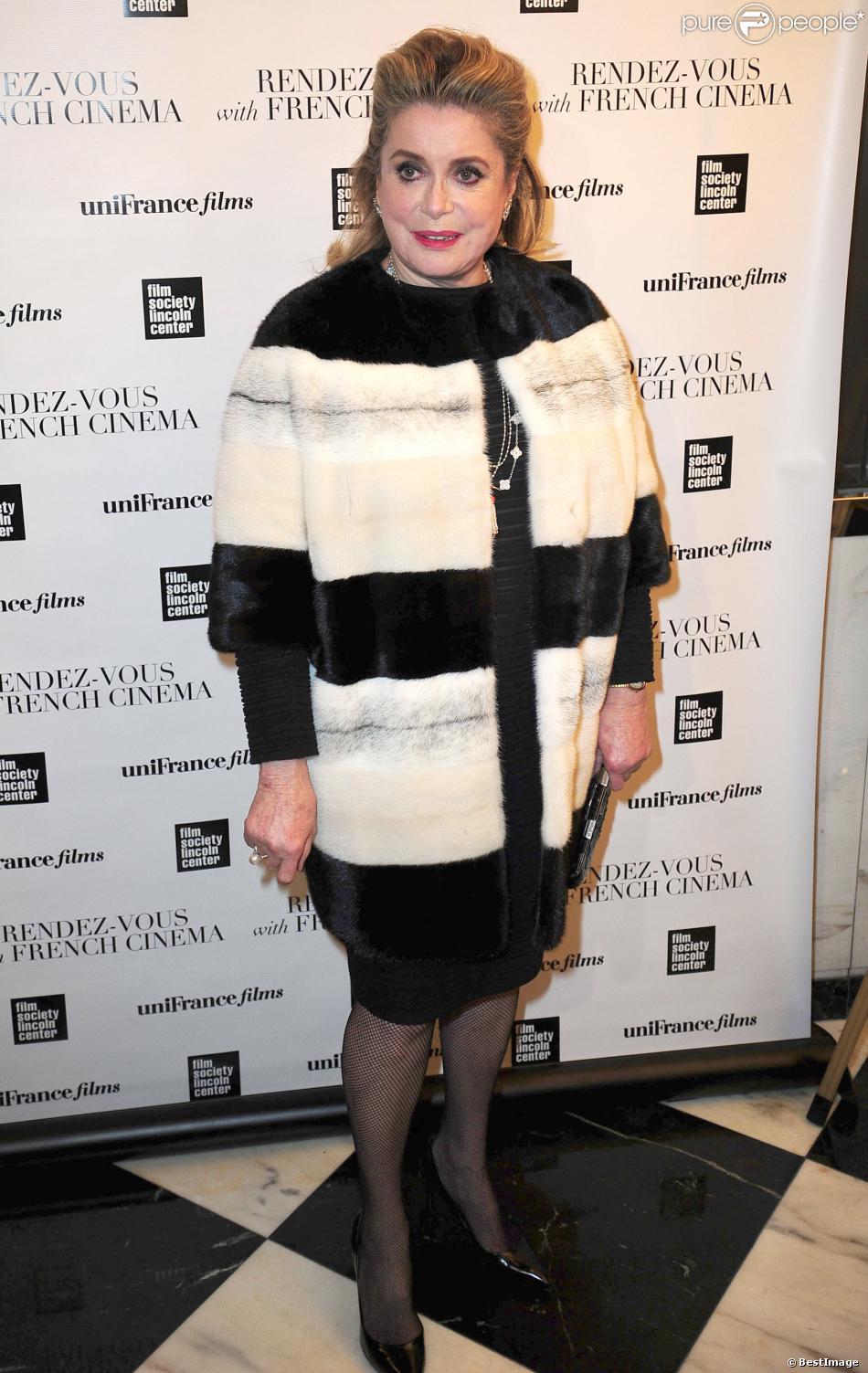 """Catherine Deneuve lors de la présentation du film """"On my way"""" (Elle s'en va) à New York le 6 mars 2014, dans le cadre du Rendez-vous with French Cinema avec UniFrance"""