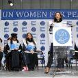 Rula Jebreal participe à la marche contre les violences faites aux femmes, à New York, le vendredi 7 mars 2014.