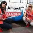 Blandine d'Astorg et Anne-Sophie Le Hoang (voiture du journal L'Express) lors du départ de la 24ème édition du Rallye Aïcha des Gazelles du Maroc au Trocadéro à Paris, le 15 mars 2014.