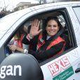 Laetitia Bléger lors du départ de la 24ème édition du Rallye Aïcha des Gazelles du Maroc au Trocadéro à Paris, le 15 mars 2014.