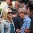 Woody Allen et Scarlett Johansson sur le tournage de Vicky Cristina Barcelona à Oviedo en Espagne le 30 juillet 2007