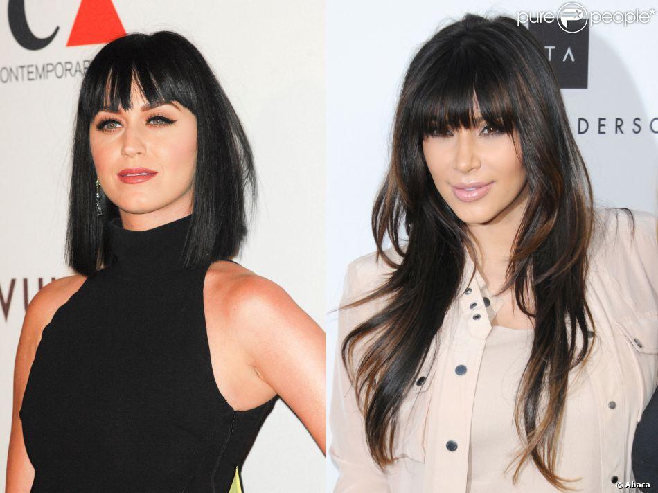 katy perry vs kim kardashian : la frange avec cheveux courts ou