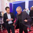 Exclusif - Dave et Marc-Olivier Fogiel dans les coulisses du Sidaction 2014, le 25 mars 2014 au thêatre Mogador à Paris (diffusion le 5 avril 2014 sur France 2).
