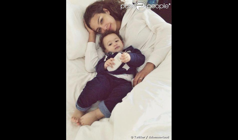 Chloé Mortaud dévoile une photo de son fils Mathis. Mars 2014.
