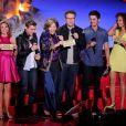 Dave Franco, Seth Rogen, Zac Efron sur la scène des MTV Movie Awards 2014, le 13 avril 2014.