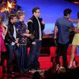 Dave Franco, Seth Rogen et Zac Efron sur la scène des MTV Movie Awards 2014, le 13 avril 2014.