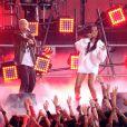 Eminem et Rihanna sur la scène des MTV Movie Awards 2014, le 13 avril 2014.