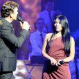 Tony Carreira et Anggun - Concert exceptionnel de Tony Carreira au Palais des Sports à Paris, le 12 avril 2014.