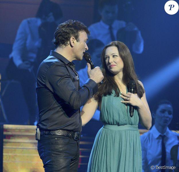 Tony Carreira et Natasha St-Pier - Concert exceptionnel de Tony Carreira au Palais des Sports à Paris, le 12 avril 2014.