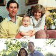 En haut : le prince William en barboteuse avec ses parents le prince Charles et Lady Di en 1983. En bas : le duc et la duchesse de Cambridge avec leur bébé le prince George en août 2013.