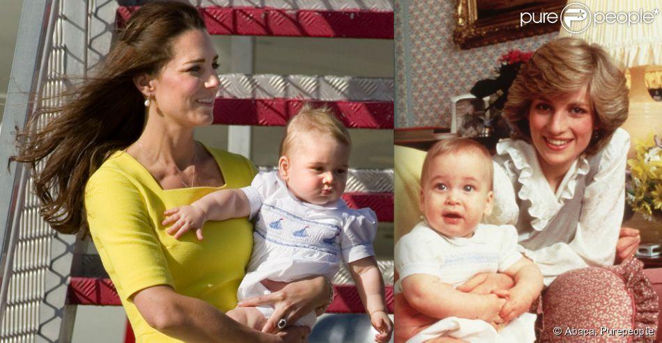 Le prince George de Cambridge, dans les bras de Kate Middleton, le 16 avril 2014 à Sydney / Le prince William, avec ses parents le prince Charles et Lady Di, en mars 1983 à Kensington.