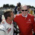 Le prince Albert II de Monaco est venu assister aux qualifications d'une épreuve de championnat WTCC, au circuit du Castellet, auxquelles le pilote Sébastien Loeb participe le 19 avril 2014.