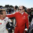 Le prince Albert II de Monaco est venu assister aux qualifications d'une épreuve de championnat WTCC, au circuit Paul Ricard du Castellet, auxquelles le pilote Sébastien Loeb participe le 19 avril 2014.