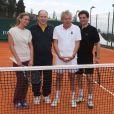 Tatiana Golovin, le prince Albert II de Monaco, Patrick Poivre d'Arvor et Arnaud Boetsch à l'entraînement pour le match en double lors du Tennis Rolex Masters de Monte Carlo à Monaco le 19 avril 2014