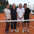 Tatiana Golovin, le prince Albert II de Monaco, Patrick Poivre d'Arvor et Arnaud Boetsch à l'entraînement pour un match en double lors du Tennis Rolex Masters de Monte Carlo à Monaco le 19 avril 2014