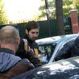 """"""" Nikola Karabatic lors de son interpelation au stade Pierre de Coubertin à Paris, le 30 septembre 2012 dans le cadre de l'enquête sur des paris suspects """""""