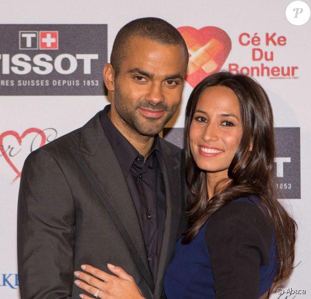 Tony Parker et sa fiancée Axelle Francine lors du gala Par Coeur de la fondation Make a Wish. Lyon, le 26 septembre 2013.