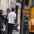 Delphine Chanéac et Laurent Fontaine - Tournage d'un nouveau concept, Les People passent le Bac à Paris le 26 avril 2014.