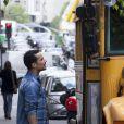 Damien Sargue - Tournage d'un nouveau concept, Les People passent le Bac à Paris le 26 avril 2014.