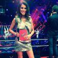 Karine Ferri : ravissante en robe Iris Cantabri, perchée sur de somptueux escarpins Alberta Ferretti sur le plateau de The Voice 3, sur TF1