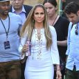 "Jennifer Lopez se rend sur l'émission ""American Idol"" à Hollywood, le 1er mai 2014."
