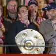 Pep Guardiola, Philipp Lahm, Hermann Gerland fêtent le titre de champion d'Allemagne avec le Bayern Munich le 10 mai 2014.