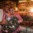 Franck Ribery et Jerome Boateng fêtent le titre de champion d'Allemagne avec le Bayern Munich le 10 mai 2014.