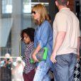 L'ancien top allemand Heidi Klum emmène ses enfants Leni, Henry et Johan manger une glace à Brentwood, le 19 avril 2014
