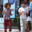 Henry Samuel et Johan Samuel - Heidi Klum emmène ses enfants Leni, Henry et Johan manger une glace à Brentwood, le 19 avril 2014