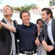 """Gaspard Ulliel, Bertrand Bonello, Jérémie Renier - Photocall du film """"Saint Laurent"""" lors du 67e festival international du film de Cannes, le 17 mai 2014."""